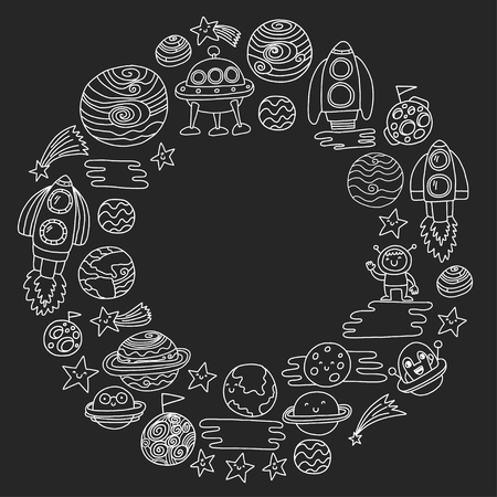 Vector pattern with space icons. Doodle kids drawing style illustration for kindergarten, school. Cosmos exploration, travel, adventure. Planets, earth, moon, saturn, jupiter, comet.