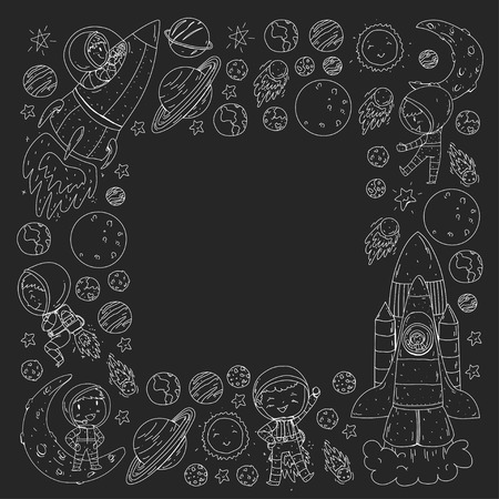 Space for children. Coloring page, book. Kids and cosmos exploration. Adventures, planets, stars. Earth and Moon. Rocket, shuttle, sun.