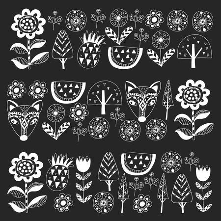 Scandinavian pattern for kindergarten, nursery, children room. Ornament animals watermelon Foto de archivo - 114676991