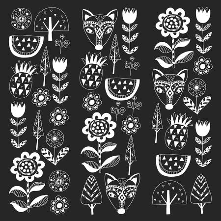 Scandinavian pattern for kindergarten, nursery, children room. Ornament animals watermelon Foto de archivo - 114676992