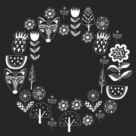 Scandinavian pattern for kindergarten, nursery, children room. Ornament animals watermelon Foto de archivo - 114676995