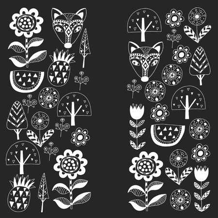 Scandinavian pattern for kindergarten, nursery, children room. Ornament, animals, watermelon.