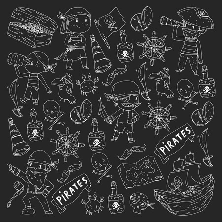 Pirate party for little children. Kindergarten background. Sea and ocean adventures. Ship and pirates, treasure island. Blackboard background.