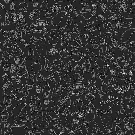 Pattern with healthy food. Cooking class, menu elements for restaurant, cafe. Milk, ice cream, fish, juice, avocado turkey carrot garlic coffee tea Archivio Fotografico - 114677030