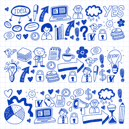 Social media and business icons. Patterns on notepad paper. Management, teamwork. Illustration