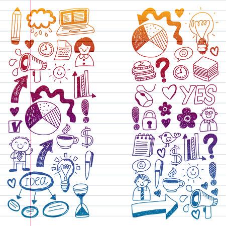 Social media and business icons. Patterns on black backgroud. Chalk illustration on blackboard. Management, teamwork