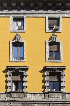 Vintage window. Classic italian window. Milan. Italy. House, home, outdoor. Old building.