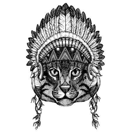 Wild animal wearing inidan headdress with feathers. Boho chic style illustration for tattoo, emblem, badge, logo, patch. Children clothing image