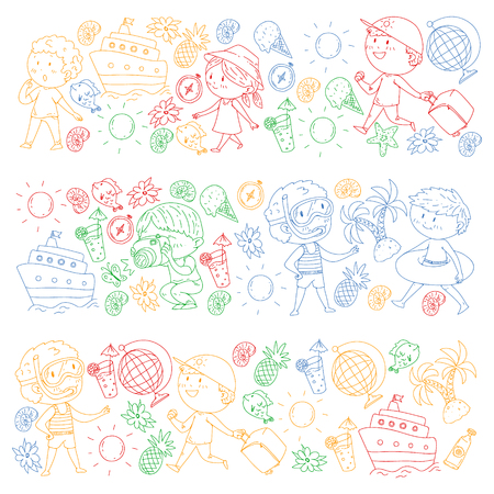 Happy children playing at seashore, beach, sea, ocean. Kids vacation and travelling. Swimming, doodle icons globe, cruise ship, cocktails