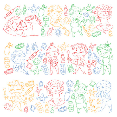 Children medical center. Healthcare illustration. Doodle icons with small kids, infection, fever, cold, virus illness Foto de archivo - 112351554