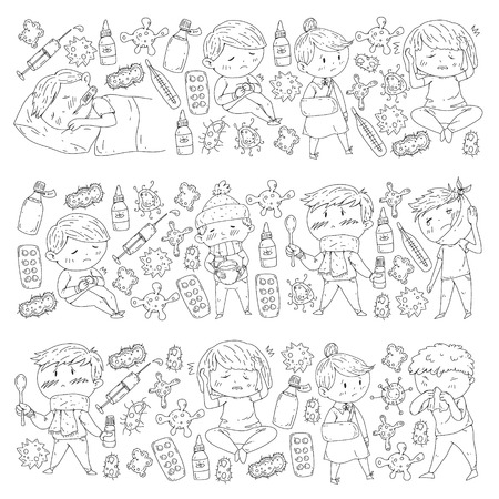 Children medical center. Healthcare illustration. Doodle icons with small kids, infection, fever, cold, virus illness 向量圖像