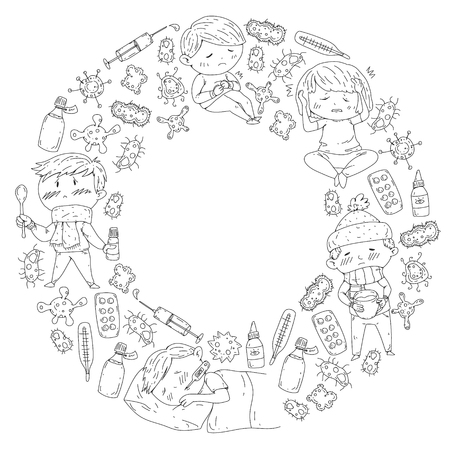 Children medical center. Healthcare illustration. Doodle icons with small kids, infection, fever, cold, virus illness Illustration