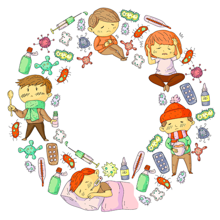 Children medical center. Healthcare illustration. Doodle icons with small kids, infection, fever, cold, virus, illness. Stock Photo