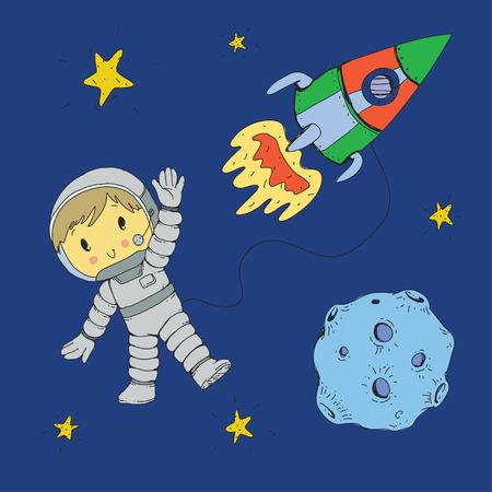 Cartoon space for children. Moon, stars, planet, asteroid, astrounaut, rocket spaceship alien ufo Adventure travel exploration around universe