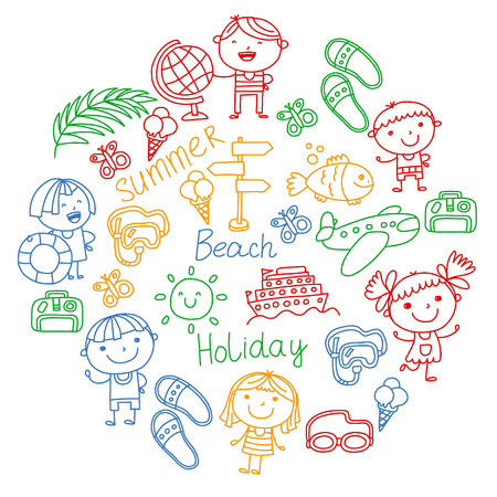 Vector pattern with children icons. Summer vacation at seashore, sea, ocean, beach. Small kids having fun