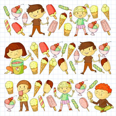 Small children eating ice cream. Sweet strawberry candy for kids. Tasty vanilla, orange, kiwi dessert Foto de archivo - 127289885