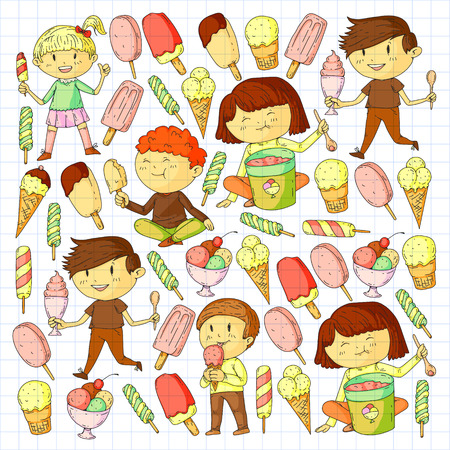 Small children eating ice cream. Sweet strawberry candy for kids. Tasty vanilla, orange, kiwi dessert Foto de archivo - 127289887