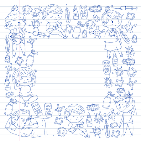 Children medical center. Healthcare illustration. Doodle icons with small kids, infection, fever, cold, virus, illness. 向量圖像
