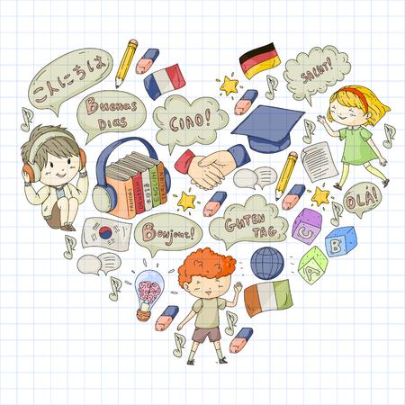 Language school for adult, kids. Children courses. English, Italian, Spanish, Japanese, Chinese Arabic German Play and study Foto de archivo - 127289998