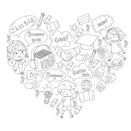 Language school for adult, kids. Children courses. English, Italian, Spanish, Japanese, Chinese, Arabic, German. Play and study. Illustration