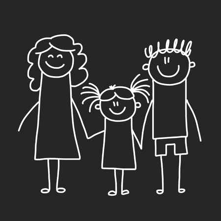 Happy family with children. Illustration on blackboard. Kindergarten illustration. Banco de Imagens - 115442663