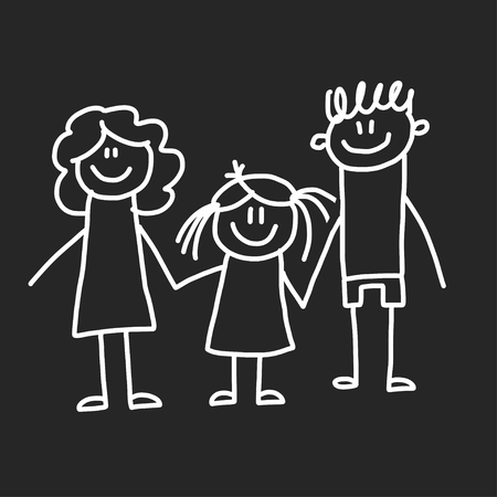 Happy family with children. Illustration on blackboard. Kindergarten illustration. Фото со стока - 115442668