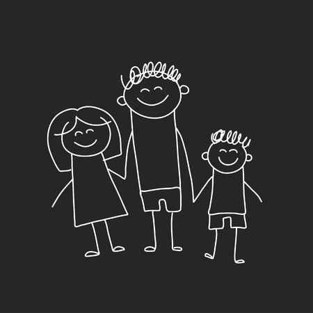 Happy family with children. Illustration on blackboard. Kindergarten illustration. 向量圖像