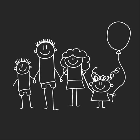 Happy family with children. Illustration on blackboard. Kindergarten illustration.  イラスト・ベクター素材
