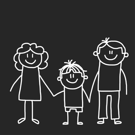 Happy family with children. Illustration on blackboard. Kindergarten illustration. Banco de Imagens - 115442667