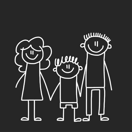 Happy family with children. Illustration on blackboard. Kindergarten illustration. 일러스트