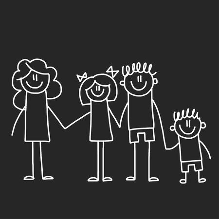 Gelukkig gezin met kinderen. Illustratie op bord. Kleuterschool illustratie.