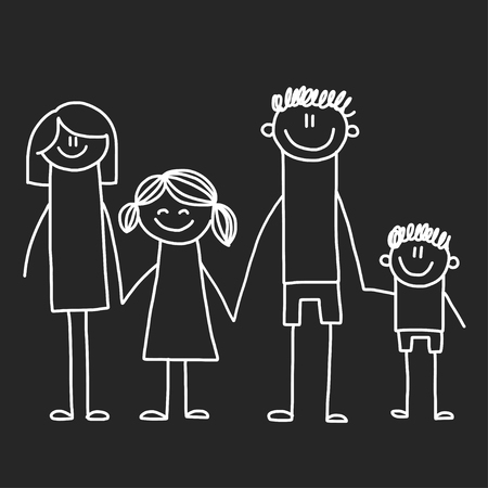 Happy family with children. Illustration on blackboard. Kindergarten illustration. Illustration