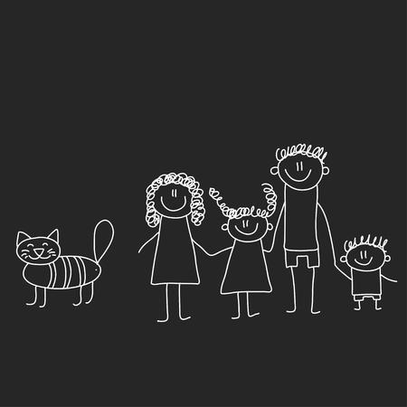Famille heureuse avec enfants. Illustration sur tableau noir. Illustration de la maternelle