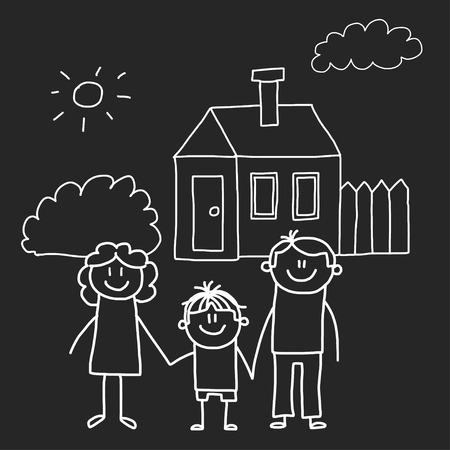 Happy family with house. Kids drawing style vector illustration isolated on blackboard background. Mother, father, sister, brother Stock fotó - 127129725