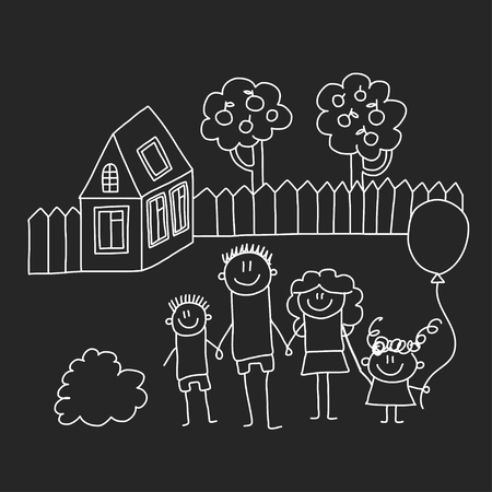 Happy family with house. Kids drawing style vector illustration isolated on blackboard background. Mother, father, sister, brother Standard-Bild - 127129726