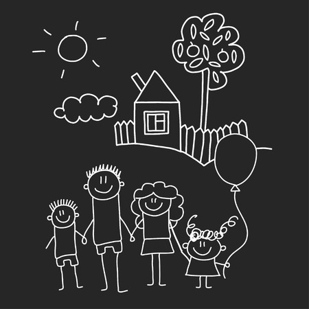 Happy family with house. Kids drawing style vector illustration isolated on blackboard background. Mother, father, sister, brother Standard-Bild - 127129746