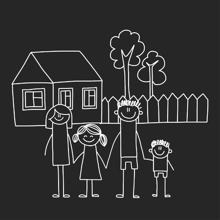 Happy family with house. Kids drawing style vector illustration isolated on blackboard background. Mother, father, sister, brother Standard-Bild - 127129753
