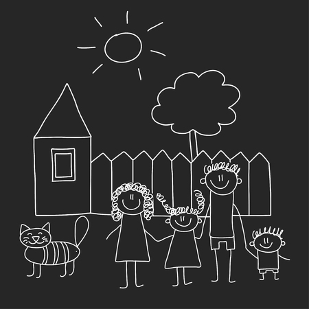 Happy family with house. Kids drawing style vector illustration isolated on blackboard background. Mother, father, sister, brother Standard-Bild - 127041302