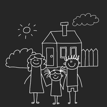 Happy family with house. Kids drawing style vector illustration isolated on blackboard background. Mother, father, sister, brother Standard-Bild - 127041318