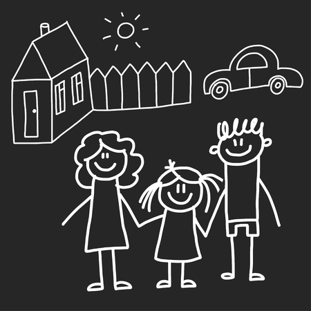 Happy family with house. Kids drawing style vector illustration isolated on blackboard background. Mother, father, sister, brother. Standard-Bild - 115442669