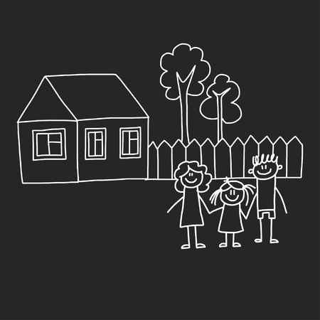 Happy family with house. Kids drawing style vector illustration isolated on blackboard background. Mother, father, sister, brother