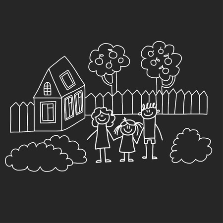 Happy family with house. Kids drawing style vector illustration isolated on blackboard background. Mother, father, sister, brother Stock fotó - 127041321