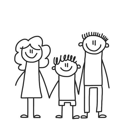 Famille heureuse avec enfants. Enfants dessin illustration vectorielle de style. Mère, père, sœur, frère