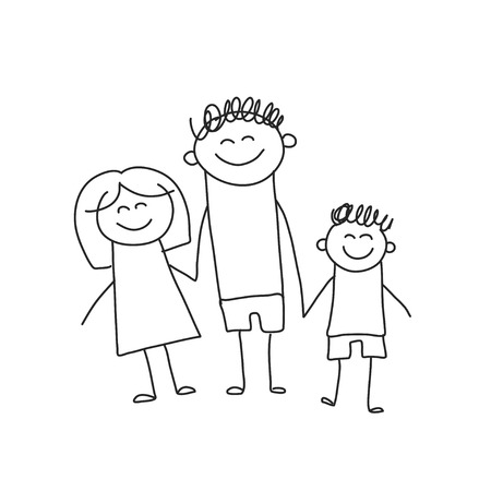 Happy family with children. Kids drawing style vector illustration. Mother, father, sister, brother Фото со стока - 126864666