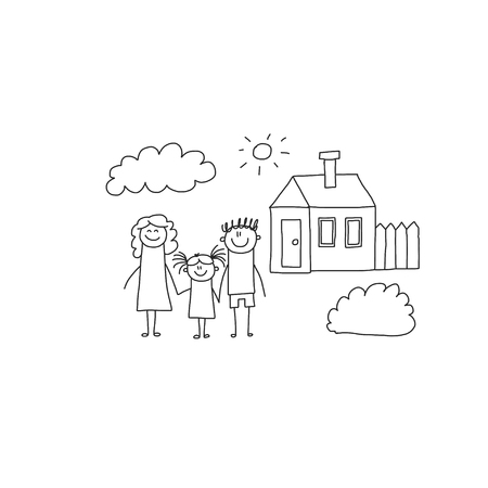 Happy family with children. Kids drawing style vector illustration. Mother, father, sister, brother Standard-Bild - 126864678