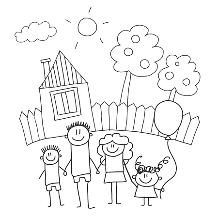 Happy family with children. Kids drawing style vector illustration. Mother, father, sister, brother Standard-Bild - 126864684