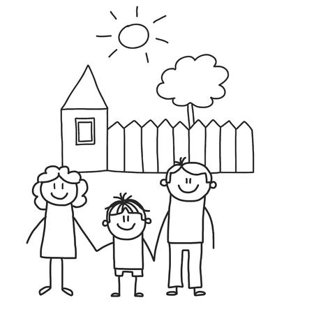 Glückliche Familie mit Kindern. Kinder zeichnen Stil-Vektor-Illustration. Mutter, Vater, Schwester, Bruder