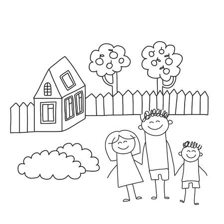 Happy family with children. Kids drawing style vector illustration. Mother, father, sister, brother