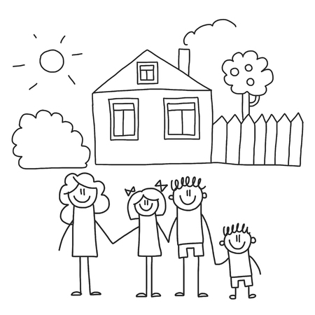 Happy family with children. Kids drawing style vector illustration. Mother, father, sister, brother Vektorgrafik
