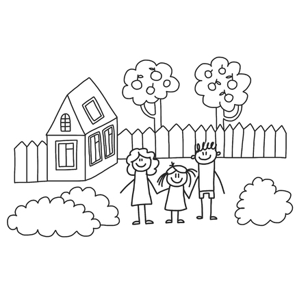 Happy family with children. Kids drawing style vector illustration. Mother, father, sister, brother Stockfoto - 126864714